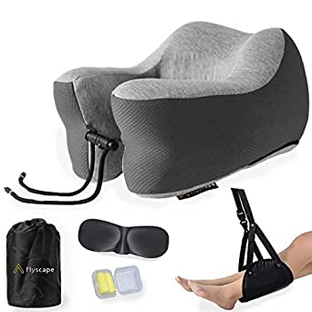 Flyscape Travel Pillow, 100% Pure Memory Foam Neck Pillow, Travel Accessories Plane Travel Kit, 3D Eye Masks, Noise Canceling Earplugs, Foot Hammock & Luxury Bag. Traveling Gifts, Standard (Grey)