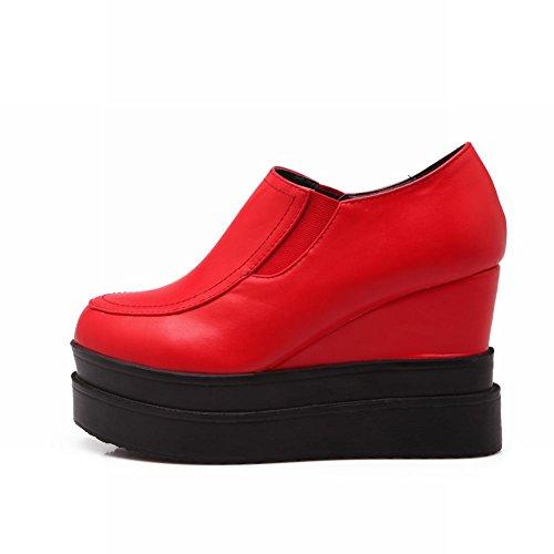 Carol Skor Kvinna Mode Retro Casual Plattform Hög Kilklack Dagdrivare Skor Röd