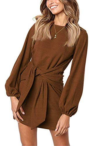 MIDOSOO Womens Loose Casual Front Tie Long Sleeve Tie Knot Front Bandage Party Dress Chocolate XL