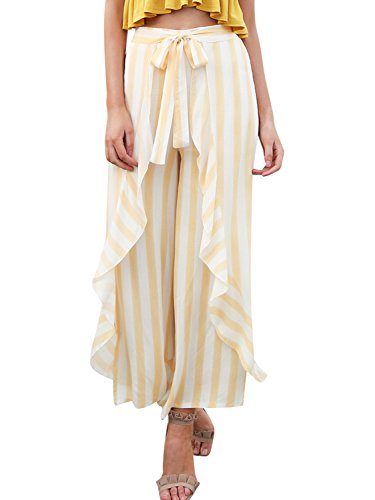 Woven Knee Pant - Simplee Women's Summer Casual Palazzo Pants Striped Loose Wide Leg Pants Light Yellow US 8