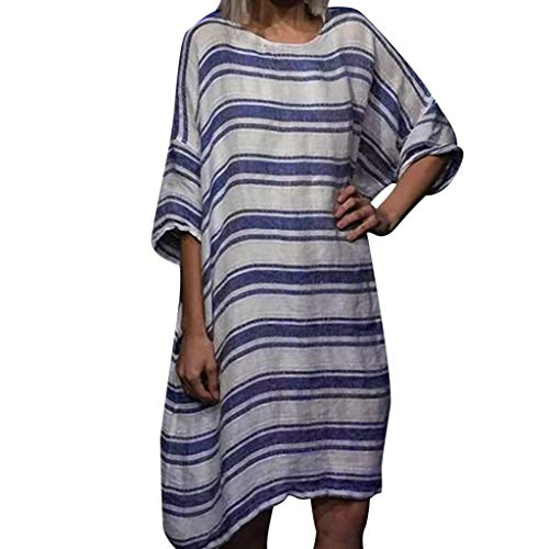 (CCOOfhhc Dress for Womens Summer Round Neck Striped Printed Short Sleeve Loose Dress Party Dress Maternity Dress Blue)