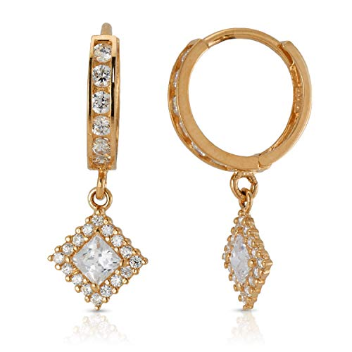 14K Yellow Gold CZ Half Eternity with Diamond Drop Small Huggie Hoop Earrings