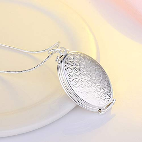 (Best Expanding Photo Pendant Expanding Oval Photo Locket Photo Box Necklace Lucky Angel Wings Image Cage for Gift Pendant Long Chain Necklace Lover Gifts)