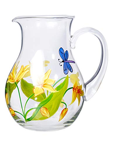 (Table Art Collection Lillies Mouth-Blown Premium Glass Pitcher - 72 oz. )