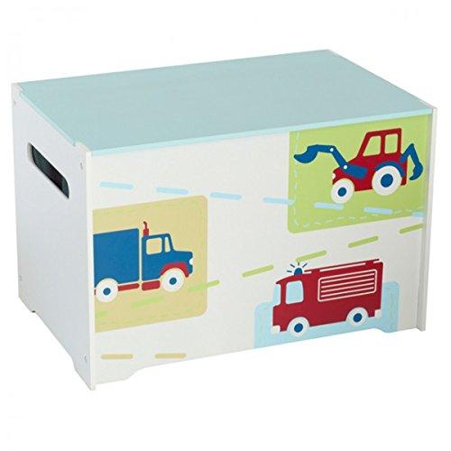 Unbekannt Spielzeugbox mit Griff aus Holz Fahrzeug Feuerwehr Kiste Box Aufbewahrungsbox Spielzeug Kinderzimmer