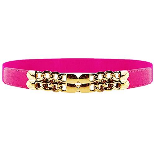 [HowYouth Women's Skinny Leather Metal Interlocked Buckle Elastic Stretch Cinch Waist Belt (Double-Buckle Peach)] (Belt Peach)