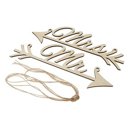 2pcs Mr Mrs Wooden Arrow Sign Door Wall Tree Chair Decor Wedding Party Decor