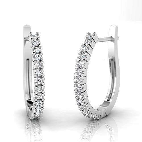 IGI Certified 1/8 Carat Natural Diamond Sterling Silver Casual Huggie Earrings for Women (J-K Color, I2-I3 Clarity)