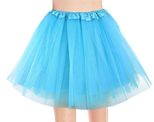 V28 Women's, Teen, Adult Classic Elastic 3, 4, 5 Layered Tulle Tutu Skirt (One Size, 4Layer-LightBlue)