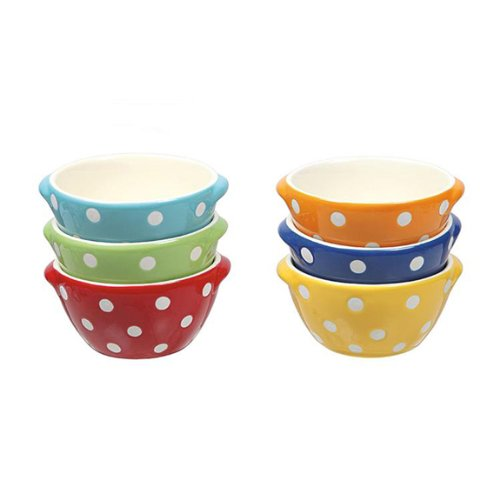 Creative Co-op Set of 6 Polka Dot Stoneware Bowls in Six Colors-4'' x 2''