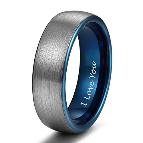 6mm Blue Tungsten Ring for her Wedding Band for Men Women Matte Brushed Engraved I Love You Size 10 ()