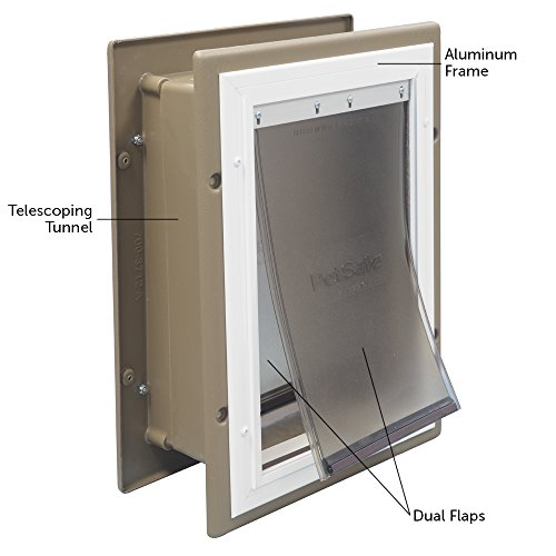 PetSafe Wall Entry Pet Door with Telescoping Tunnel, Medium, Taupe and White by PetSafe (Image #1)'
