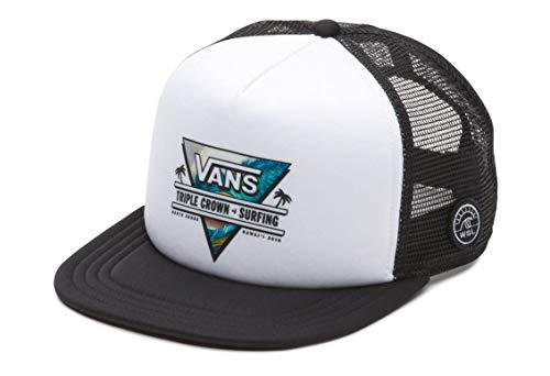 (Vans Off The Wall Men's VTCS Logo Triple Crown of Surfing Trucker Hat Cap (White/Black))