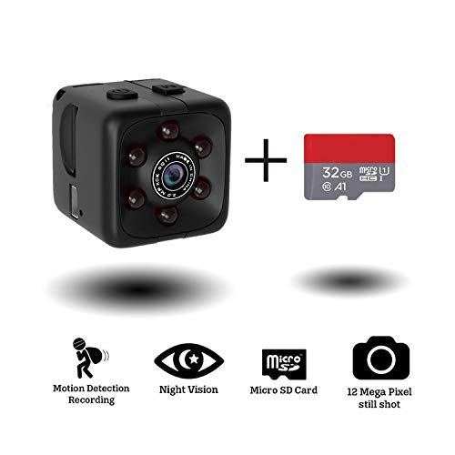 Mini Hidden Spy Camera Portable Small 1080P Wireless Cam with Night Vision and Motion Detection for Nanny Housekeeper, Security Sports Camera Black with 32 GB Card