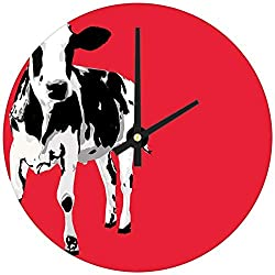hiusan Red Abstract Black Cow Wood Wall Clocks Silent Decorative Living Room,Wall Clocks Non Ticking,for Kids Bedrooms,12in