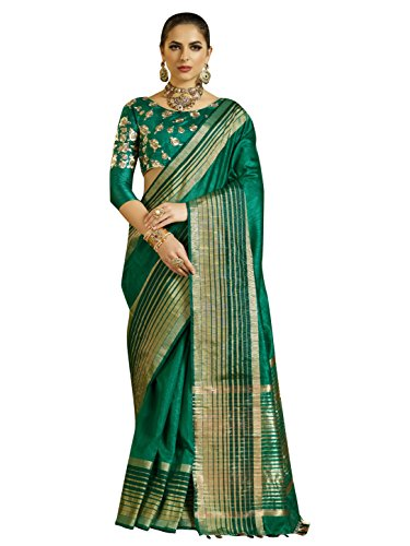 Designer Sarees Woven Work Banarasi Silk Saree for women With Unstitched Blouse Piece (Teal 2) (Georgette Dress Piece Two)
