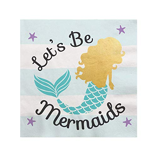Let's Be Mermaids with Gold Foil - Baby Shower or Birthday Party Cocktail Beverage Napkins (16 ()
