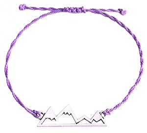 (Purple) - EUEAVAN Exqusite Nature Snow Mountains Hiking Adventure Travel Pendant Wax Cord Adjustable Bracelet