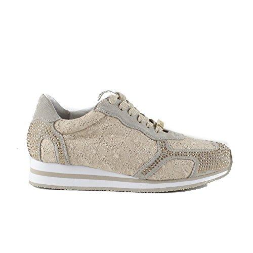 Liu Jo Sneaker Damen Running Malice Suede Hoch Cm 5 Sangallo Spitze Coloniale Beige