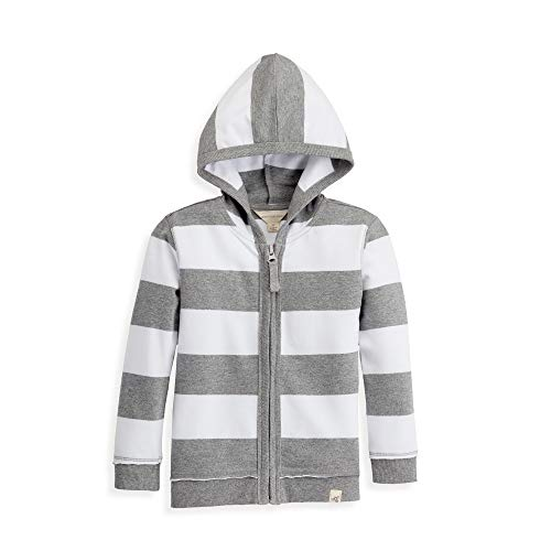 (Burt's Bees Baby Baby Sweatshirts, Lightweight Zip-Up Jackets & Hooded Coats, Organic Cotton, Boys Grey Rugby Stripe, 6)