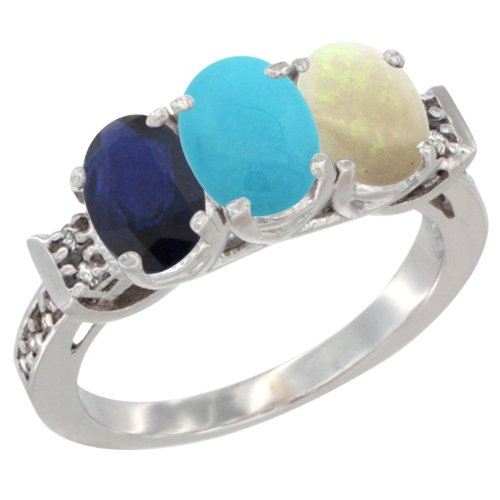 14K White Gold Natural Blue Sapphire, Turquoise & Opal Ring 3-Stone Oval 7x5 mm Diamond Accent, size 10