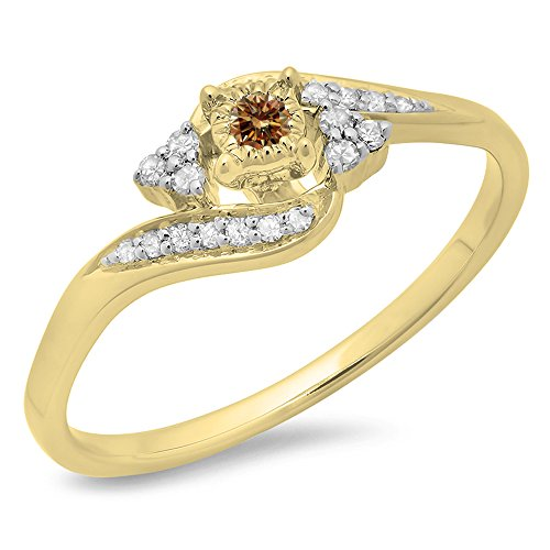 0.20 Carat (ctw) 10K Yellow Gold Round Champagne & White Diamond Swirl Promise Ring 1/5 CT (Size (Diamond Swirl Promise Ring)