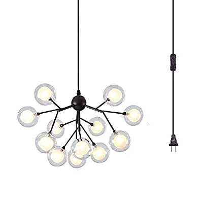 Dellemade DD00134B Plug in Sputnik Chandelier 12-Light Pendant Light with 16 ft Cord Bulbs Included,Black