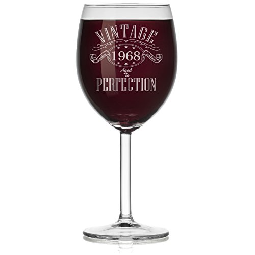 Wine Glass 1968 Vintage Perfection 50th Birthday Limited Edition (Stemmed, 10oz) - 50th Birthday Wine