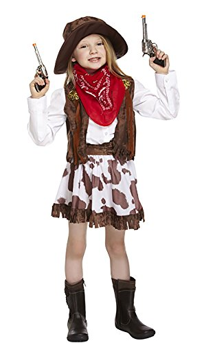 MA ONLINE Girls Wild Cowgirl Dress Knee Long Outfit Childrens Fancy Party Wear Costume Small 4-6 Years