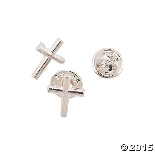 Metal Silvertone Cross Pins (One Dozen) (Cross Pins)