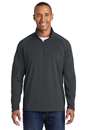 Sport-Tek Men's Sport Wick Stretch 1/2 Zip Pullover L Charcoal Grey