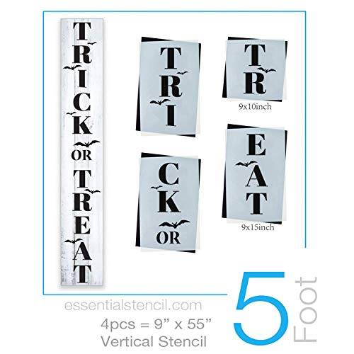 Reusable Trick or Treat Sign Stencil for Painting on Wood | Ideal for 5ft Vertical Porch Sign (DIY Halloween Entrance Sign) for $<!--$18.97-->