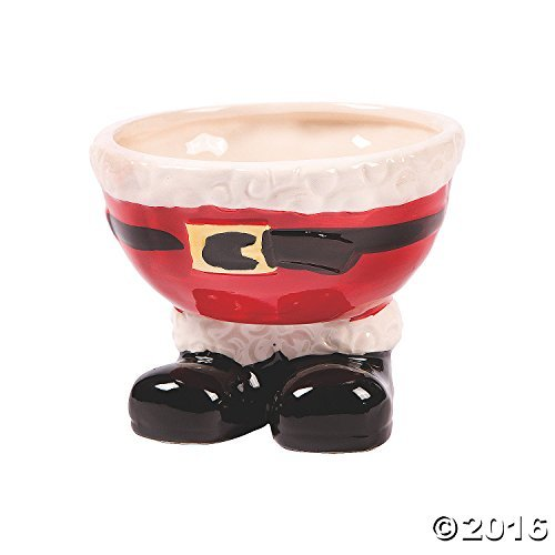 Fun Express ADORABLE SANTA FEET CERAMIC BOWL, Red, One (Christmas Dish)