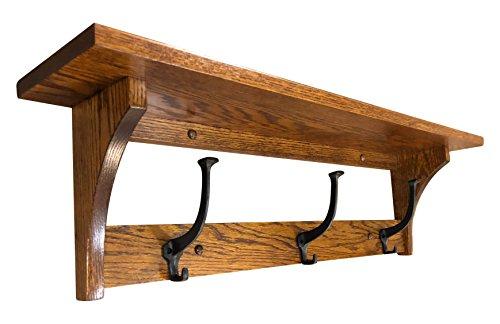 Wood Coat Rack Shelf Wall Mounted, Shaker, 3 Hook, Oak Wood, Michaels Stain -
