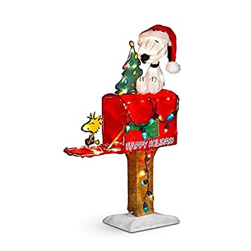 snoopy and woodstock on mailbox lighted outdoor christmas decoration 32 - Lighted Snoopy Mailbox Outdoor Christmas Decoration