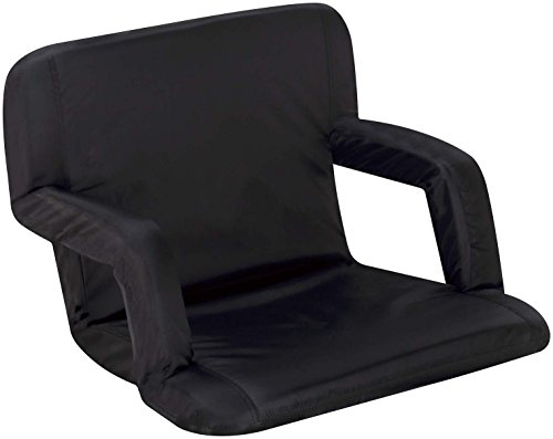 Naomi Home Venice Portable Reclining Seat with Armrest, Black, Standard (Sports Tailgate Seat)