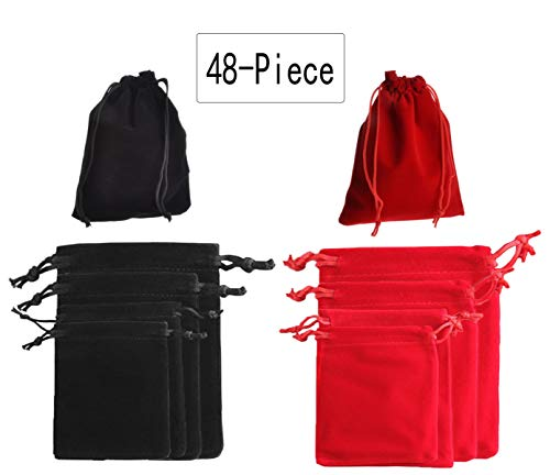 SMYLLS 48-Piece Jewelry Velvet Bag & Jewelry Pouch Drawstring Bags - Red and Black Velvet Cloth Storage Pouch for Jewelry (4 Sizes Each 12 Pcs)