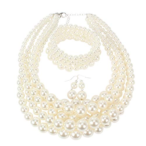 (HaHaGirl White Faux Pearl Jewelry Sets for Women Include Necklace Bracelet and Earrings Set )