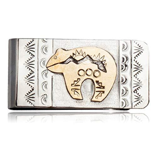 Navajo Bear - $180Tag 12ktGF Silver Bear Certified Navajo Native American Money Clip 11262 Made by Loma Siiva