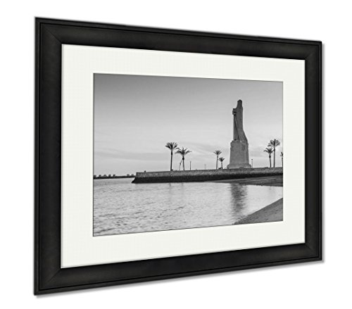 Ashley Framed Prints Discovery Faith Christopher Columbus Monument In Palos De Fronte, Modern Room Accent Piece, Black/White, 34x40 (frame size), Black Frame, AG6376699 by Ashley Framed Prints