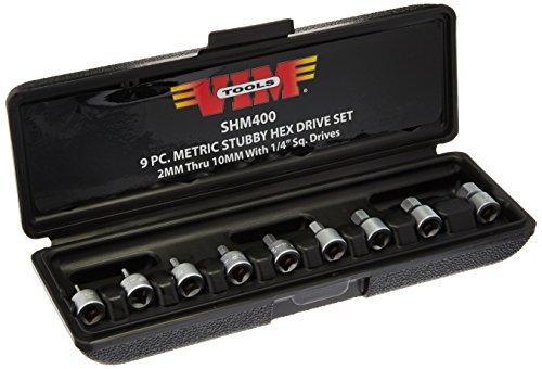 Vim Tools SHM400 Drive Metric Stubby Hex Bit Set, 1/4-Inch , - Stubby Socket Metric Hex