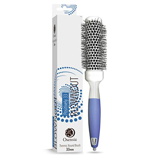 Professional Round Brush for Blow Drying - Small Ceramic Ion Thermal Barrel Brush for Sleek, Precise Heat Styling and Salon Blowout - Lightweight, Antistatic Bristle Hair Brush by Osensia - 1.3 Inch