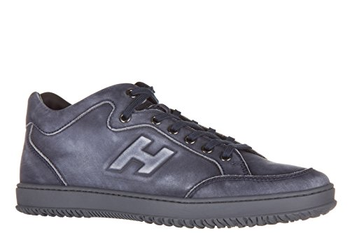 Hogan chaussures baskets sneakers homme en cuir h168 mid cut h rilievo blu