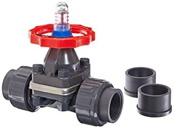 "Hayward DAB1012UFF DAB Series PVC Diaphragm Valve, FPM Diaphragm, FPM Seals, 1-1/4"" Socket and Threaded Connections"