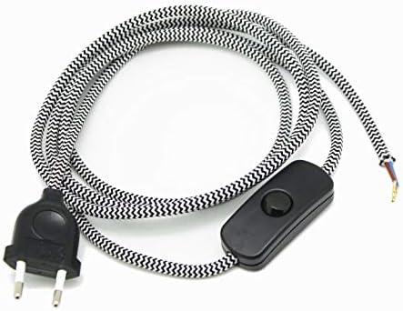 Textilkabel Anschlussleitung Zuleitung Design kupfer 2-adrig Stecker Schalter 3m