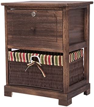 CL- Soporte de Cama - Mueble de TV Combinado Mueble de Cambio de Mesa Mueble de decoración para el hogar Cajón marrón Oscuro con Base de Seguridad/Dos Estilos Mesitas de Noche: Amazon.es: