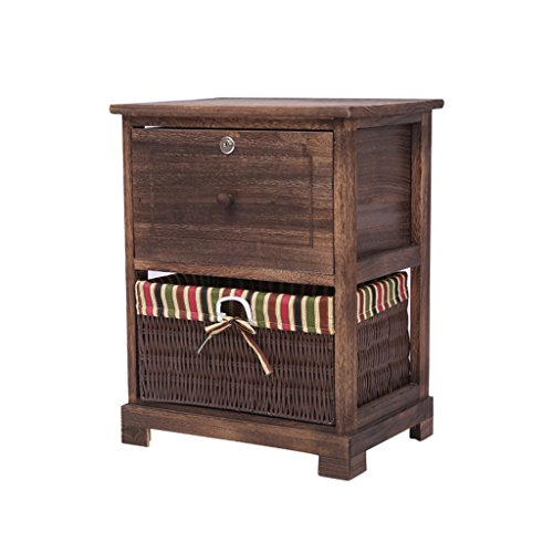 Jia He Nightstand Bedstand - Combined TV Cabinet Shoe Changing Table Household Decoration Cabinet White Dark Brown Drawer with Lock Core/Two Styles @@ (Color : B, Size : 403093CM)