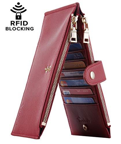 Travelambo Womens Walllet RFID Blocking Bifold Multi Card Case Wallet with Zipper Pocket (CH Red Deep 2285)