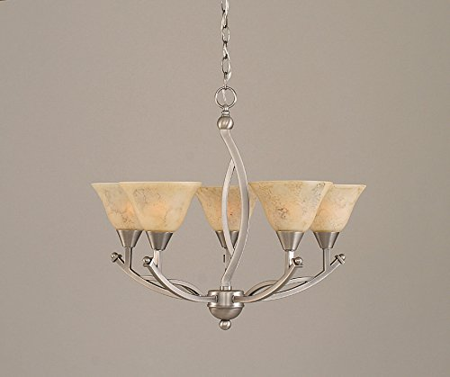 Toltec Lighting 275-BN-508 Bow Five-Light Uplight Chandelier Brushed Nickel Finish with Italian Marble Glass Shade, - 5 Light Chandelier Uplight
