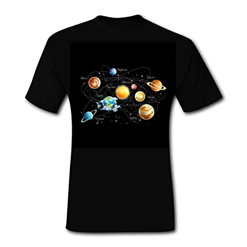 Solar Planets Stars and Milky Way Galaxy Space 3D Print T-Shirt Tee Tops Short Sleeve Soft Black for Men Shirts for Dad -